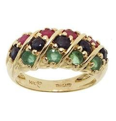 Ruby Sapphire Emerald 14K Gold Ring