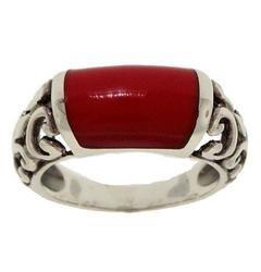 Red Stone Sterling Silver Filigree Ring (size: 5)