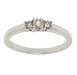 1/4 Carat 3 Stone Diamond 14K White Gold Past, Present, and Future Ring