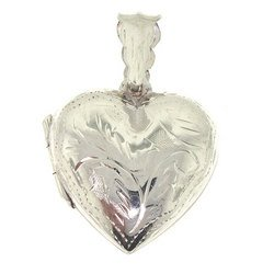 Sterling Silver Heart Locket Dangle Pendant