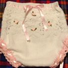 Baby Girl Diaper Cover Hand Knit Lace With Pink Trim And Pink Satin Ribbon With Rosetts