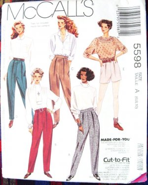 McCall's Made-For-You Cut-To-Fit Pattern #5598 Size A 6,8,10