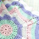 Hand Crochet Baby Spider Web Afghan Pink, Lavender, Mint and White For Infant