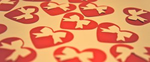 Scrapbooking Die Cut Punchie Hearts with Bow Valentine