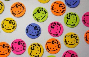 "Kitty Paper Punch Punchie Die Cut Confetti Bottle Cap Art 1"""