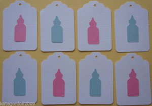Baby Shower Bottle Scrapbooking Hang Gift Tags Lot of 8