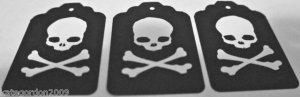 Halloween Gift Tags Skeleton Skull Cross Bones Scrapbook Embellishment Tag Lot