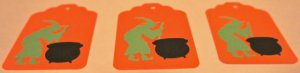 Halloween Gift Tags Witch Caldron Scrapbook Embellishment Tag Lot