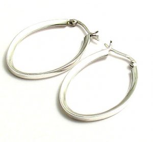Silver Beveled Oval Hoop Earrings