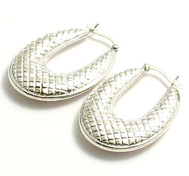 Silver Fancy Oval Hoop Earrings