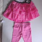 Youngland Baby Girl Pink & White Tier Dress & Leggings Set 12 18 24 Months NWT