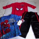 Marvel Spiderman Baby Boy 3 Piece Outfit Set 12 18  Months NWT 2 Shirts Pants