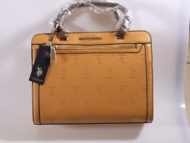 US Polo Association Embossed Logo Jackson Satchel Handbag Purse Camel NWT Gift