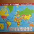 057 PLACEMAT WORLD MAP INFO FACTS