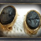 Lovely vintage antique black cameo clip on earrings