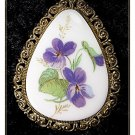 Vintage antique Hand-painted floral pendant