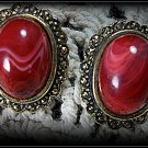 Vintage post earrings red
