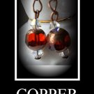 Artisan hand-made copper and red earrings with Swarovski Crystals