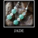 Artisan hand-made jade earrings with Swarovski Crystals