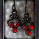 Red dangle vintage earrings