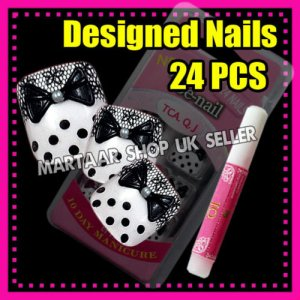 24 Foot beauty French Toe False Nails Tips 3D BOW TIE PEARL DOTS FREE GLUE