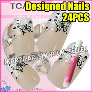NEW Hand Beauty Glitter Butterfly French False Nail Full Tips 24pcs @C FREE GLUE