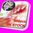 500 WHITE PRO FRENCH FALSE NAILS ACRYLIC NAIL ART TIPS GEL MAKEUP WITH FREE GLUE