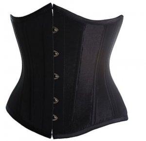 Sexy black satin underburst waspie basque burlesque corset/ G-string Free P&P