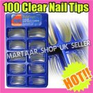 100 CLEAR Pro Salon Hand  False Fake French Nails  Art Tips Make Up UK FREE GLUE