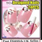 24PC PRE DESIGNED hand beauty acrylic fake Nail Art Ladies Pink Cat Tips + Glue.