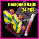 24 Foot Beauty French Toe False Nails Tips DIAGONAL STRIPE W/ PERAL FREE GLUE
