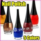 NEW SHINY NAIL POLISH VARNISH  - 5 COLOURS GRAB A BARGAIN FREE P & P
