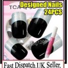 24pc Fancy Pre Designed hand beauty acrylic fake NailArt Glitter False Tips+Glue