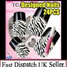 TIGER  PRE DESIGNED HAND BEAUTY ACRYLIC Nail Art false nails Tips  free Glue.