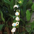 Orange Blue Fish and Heart Ceramics Wind Chime or Hanging Mobile