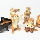 Animals Ceramic Brown Cat Set Music Ceramic Figurine Hand painted