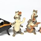 Animals Ceramic Black Cat Set Music Ceramic Figurine Hand painted