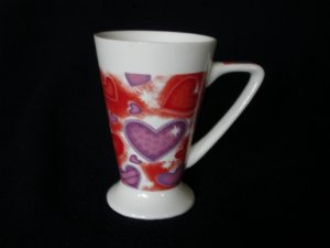 Royal Norfolk  Red Purple Hearts Tall Mug Cup