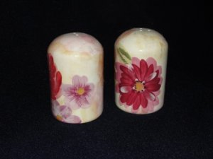Salt and Pepper Shakers with Multi Color Pastel Flowers