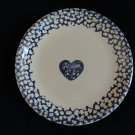 Tienshan Folk Craft Blue Hearts Sponge Dinner Plate