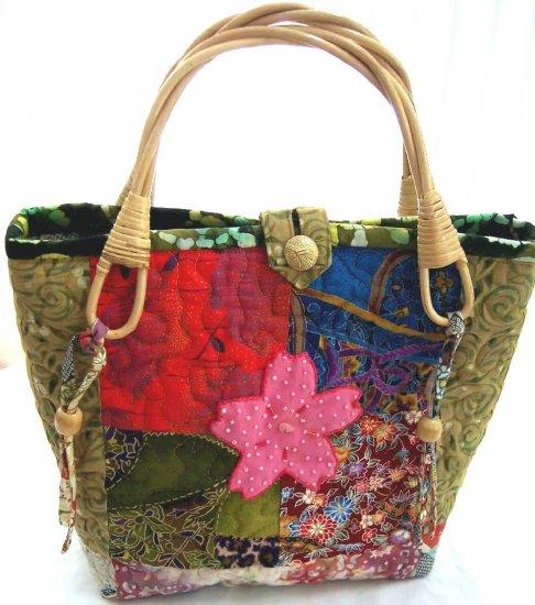 Quilted Japanese Patchwork Sakura Flower Bag