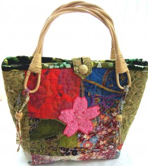 Quilted Japanese Patchwork Sakura Flower Bag