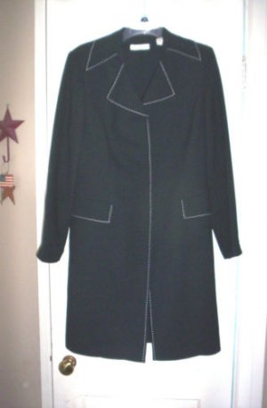 WOMENS 12 BLACK BLAZER LAB COAT LENGTH w/TOPSTITCHING!