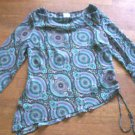 WOMENS LARGE TOP BY FASHION BUG ASYMETRICAL HEM IN EUC