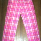 WOMENS 10 PINK MADRAS PLAID STRETCH CAPRIS PRETTY & EUC
