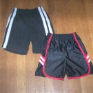 BOYS 4-5 ATHLETIC SHORTS 2 PAIRS BOTH BLACK PULL-ON EUC