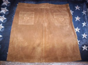 WOMENS SZ 14 SUEDE SKIRT LINED AND IN EUC CARAMEL COLOR