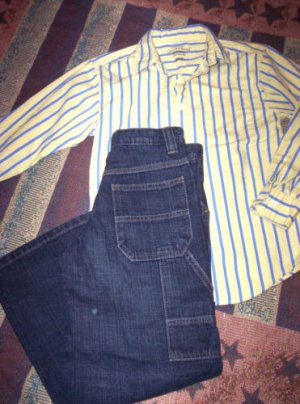 BOYS 10 BACK TO SCHOOL LOT LEE JEANS & BUTTON UP SHIRT