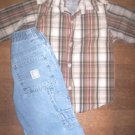 BOYS 4T FALL LOT w/CALVIN KLEIN BUTTON DOWN SHIRT & 2 PAIRS OF JEANS!