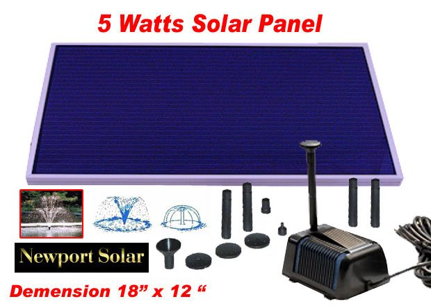 "LARGE SOLAR POWER POND WATER PUMP 18"" SOLAR PANEL 5 WATTS"